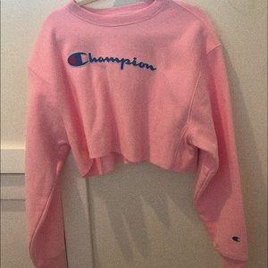 Pink cropped champion sweatshirt